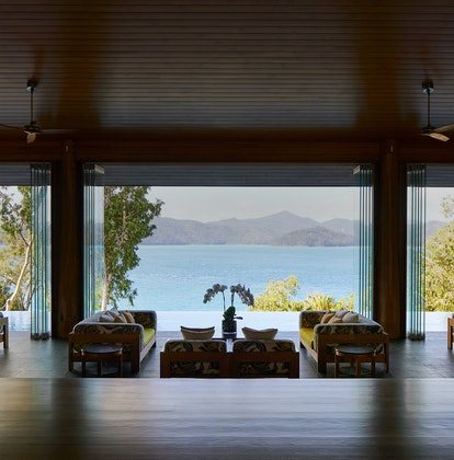 qualia Resort Entrance to Long Pavilion with Tables and Whitsundays Views