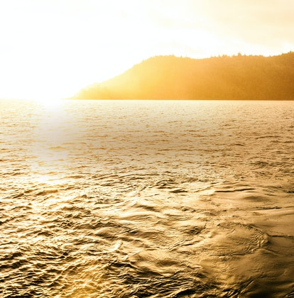 qualia resort sunset view of the sea from Palm Beach with golden sunlight