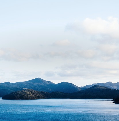 Aerial view of the qualia destination in Whitsunday islands in low light and shadows