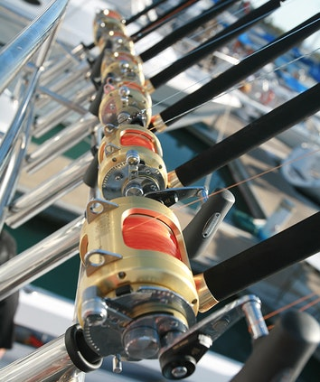 Close up of fishing rod handles lined up as part of qualia fishing charter tour