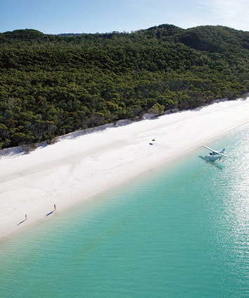 Seaplane landed on Whitehaven Beach with couple standing in sand and trees in the background as part of qualia experience