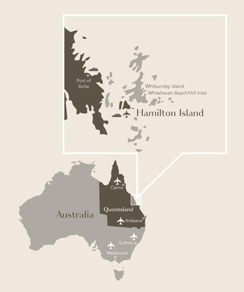 Map of Australia highlighting Queensland and zooming in on qualia's location on Hamilton Island
