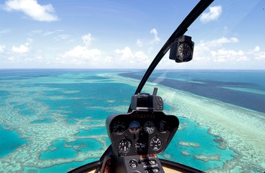 View seen from qualia resort scenic helicopter flight of turquoise waters in Great Barrier Reef