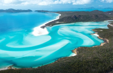 qualia aerial view during Whitehaven Beach tour of Whitehaven Beach on Whitsunday Island and surrounds
