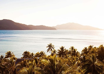 View of sun shinning over palm trees and the calm waters of the Whitsundays at qualia resort