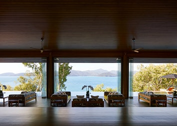 qualia Long Pavilion entrance with views of the Whitsundays