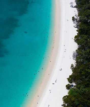 qualia aerial view showing the pure white silica sands of Whitehaven Beach on Whitsunday Island