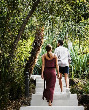 A couple walking up walkboard surrounded by bush as part of qualia bushwalking activity