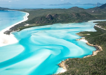 Aerial view of Hill inlet surrounded by Whitehaven beach and the Whitsundays