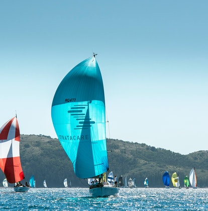 Stratacare blue sailboat ahead in the Hamilton Island Race Week followed by a red and white sailboat